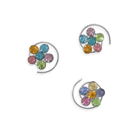 Set of 6 Multicolor Crystal Flower Fashion Hair Spins