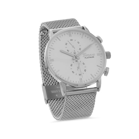 Silver Tone Mesh Unisex Fashion Watch