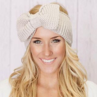 Crochet Bow Knit Headband-cold weather-Moonlight Gypsy