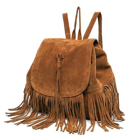 Faux-Suede Fringe Boho Backpack-handbag-Moonlight Gypsy