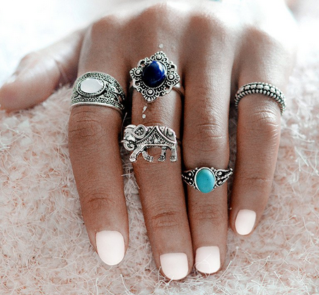 Wanderlust Boho Stackable Ring Set-ring-Moonlight Gypsy