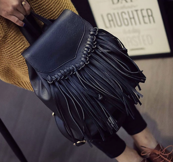 Faux-Leather Fringe Boho Backpack-Moonlight Gypsy