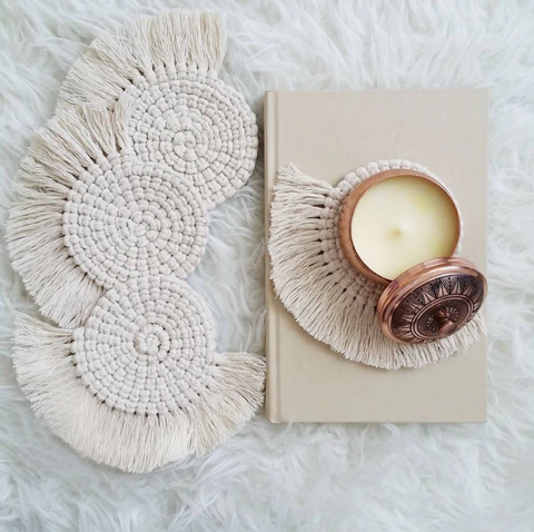 Macrame Fringe Coasters-Home Decor-Moonlight Gypsy