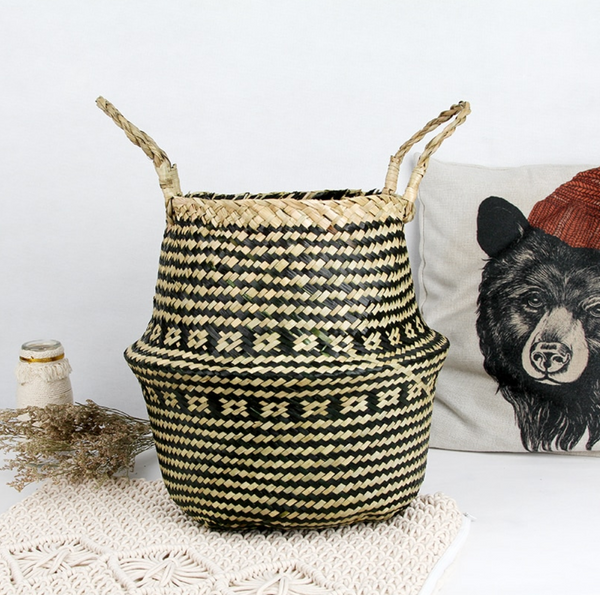 Aztec Straw Storage Basket-storage basket-Moonlight Gypsy