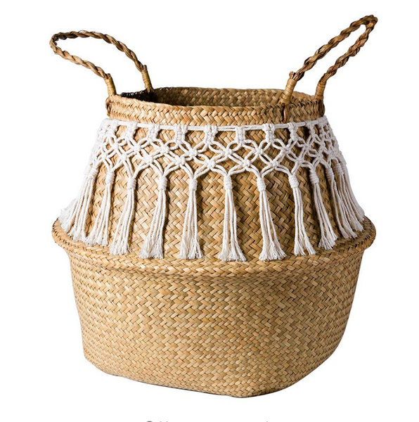 Crochet Straw Storage Basket-storage basket-Moonlight Gypsy