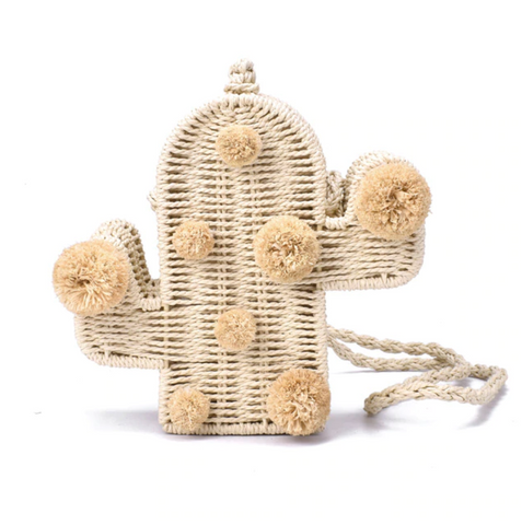 Straw Cactus Pom Pom Bag-Handbag-Moonlight Gypsy