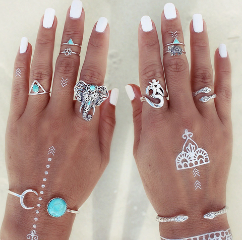 Elephant Boho Stackable Ring Set-ring-Moonlight Gypsy