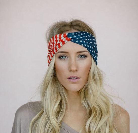 American Flag Boho Headband-Hair Accessories-Moonlight Gypsy