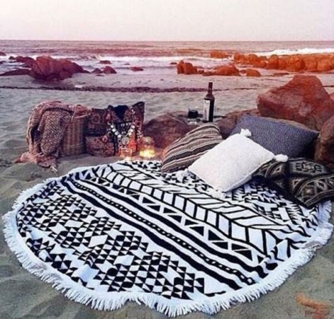 Tribal Print Fringe Beach Towel Roundie - Moonlight Gypsy