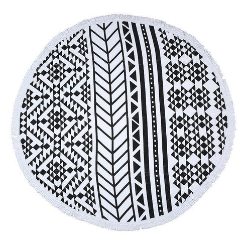Tribal Print Fringe Beach Towel Roundie-Beach Towel-Moonlight Gypsy