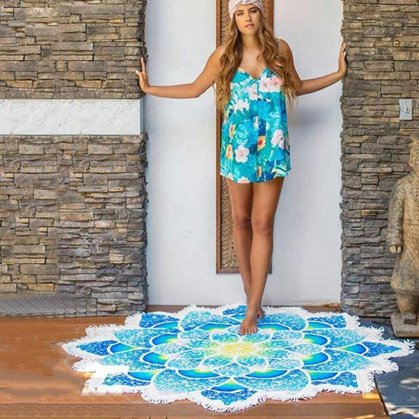 Flower Fringe Beach Towel-Beach Towel-Moonlight Gypsy