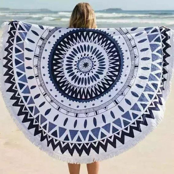 Ocean Wave Fringe Beach Towel Roundie-Beach Towel-Moonlight Gypsy