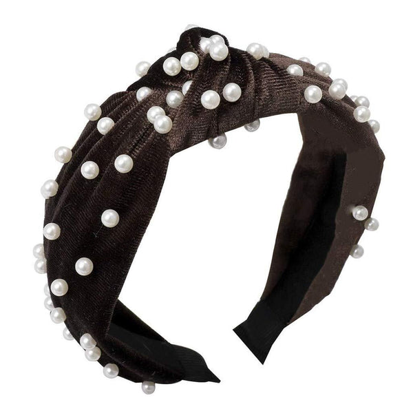 Boho Velvet Pearl Knot Headband-Hair Accessories-Moonlight Gypsy