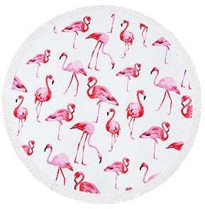 Flamingo Fringe Beach Towel Roundie - Moonlight Gypsy
