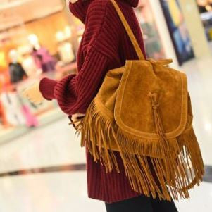 Faux Suede Fringe Boho Backpack - Moonlight Gypsy