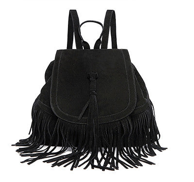 Faux-Suede Fringe Boho Backpack - Moonlight Gypsy