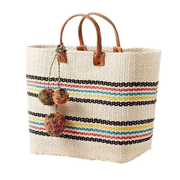 Straw Stripe Pom Pom Beach Tote-Handbag-Moonlight Gypsy