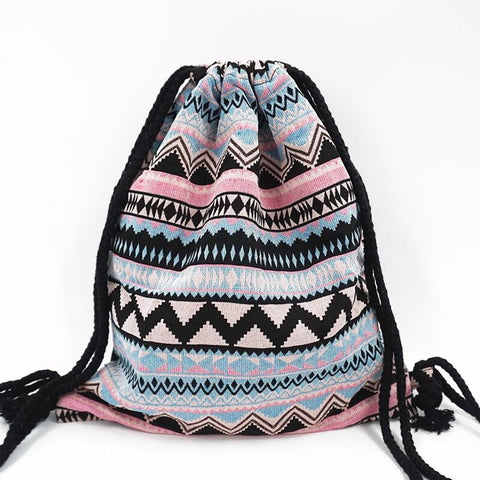 Tribal Drawstring Boho Backpack - Moonlight Gypsy