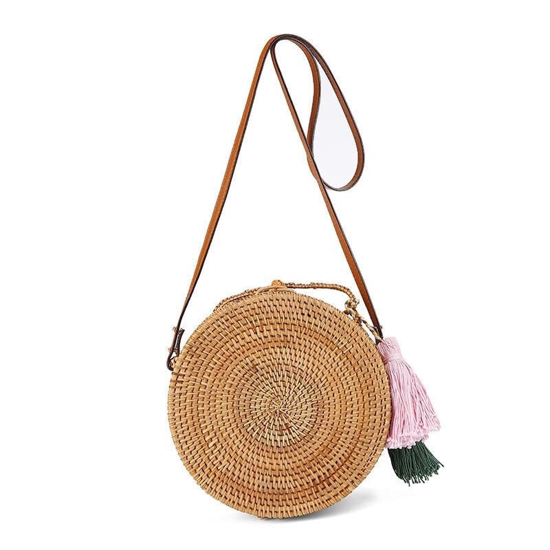 Straw Basket Tassel Circle Bag-Handbag-Moonlight Gypsy