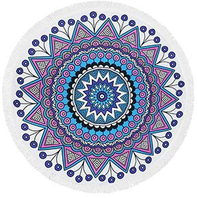 Peacock Fringe Beach Towel Roundie - Moonlight Gypsy