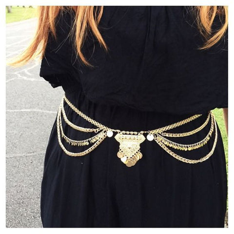 Vintage Boho Chain Belt-body jewelry-Moonlight Gypsy