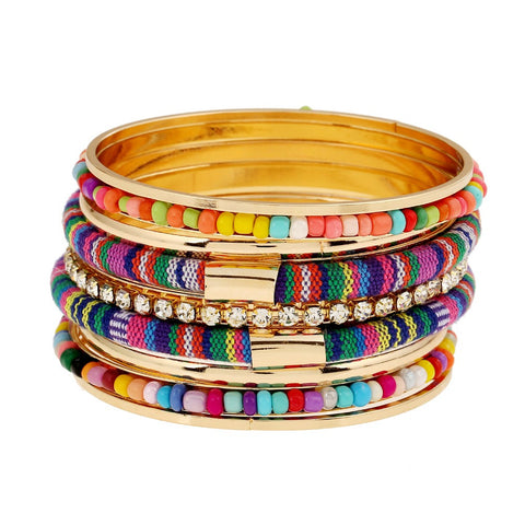Ethnic Beaded Bangle Bracelet Set - Moonlight Gypsy