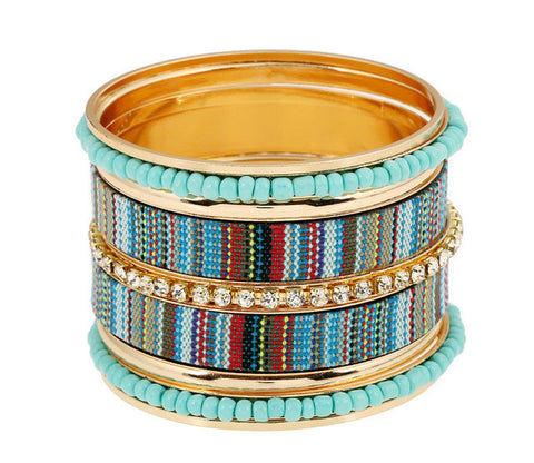 Ethnic Beaded Bangle Bracelet Set-bracelet-Moonlight Gypsy