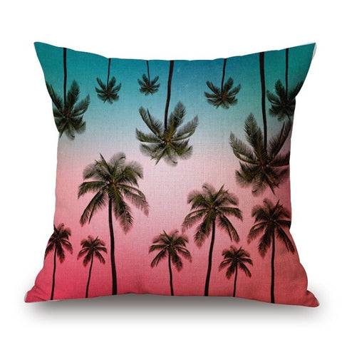 Sunrise Palm Tree Print Pillow Cover-Home Decor-Moonlight Gypsy