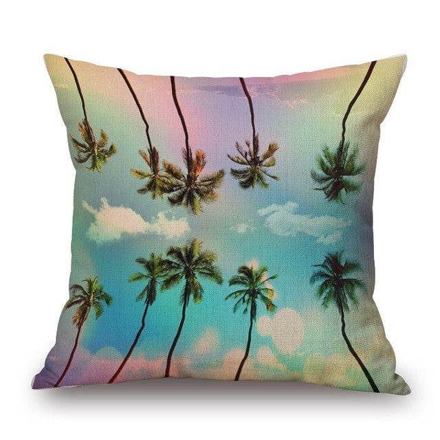 Psychedelic Palm Tree Print Pillow Cover - Moonlight Gypsy