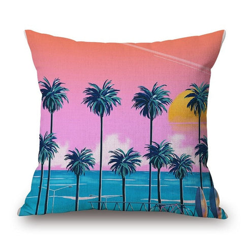 Sunset Palm Print Pillow Cover-Home Decor-Moonlight Gypsy