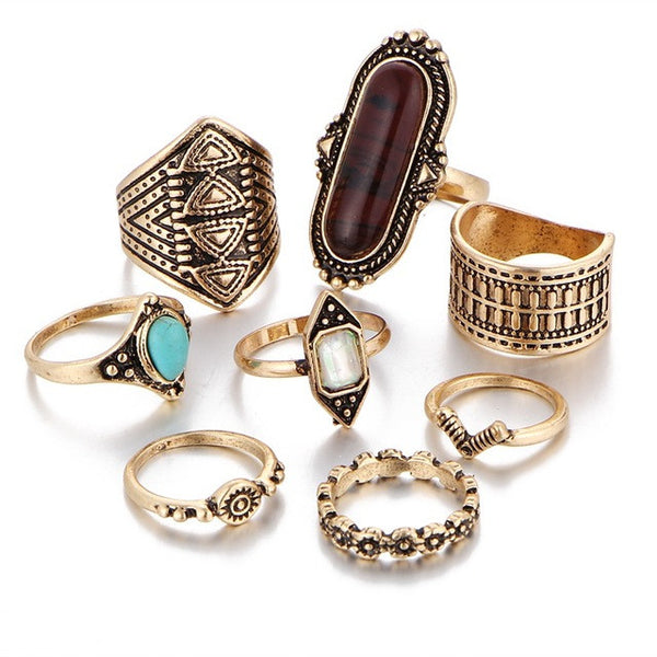Tibetan Antique Boho Stackable Ring Set-rings-Moonlight Gypsy