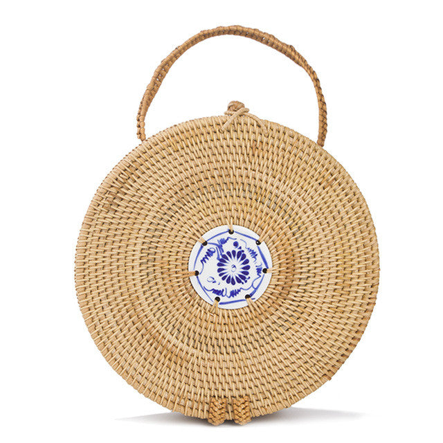 Straw Basket Circle Bag-Handbag-Moonlight Gypsy