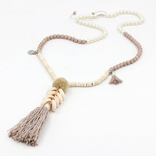 Pom Pom Tassel Shell Necklace-necklace-Moonlight Gypsy