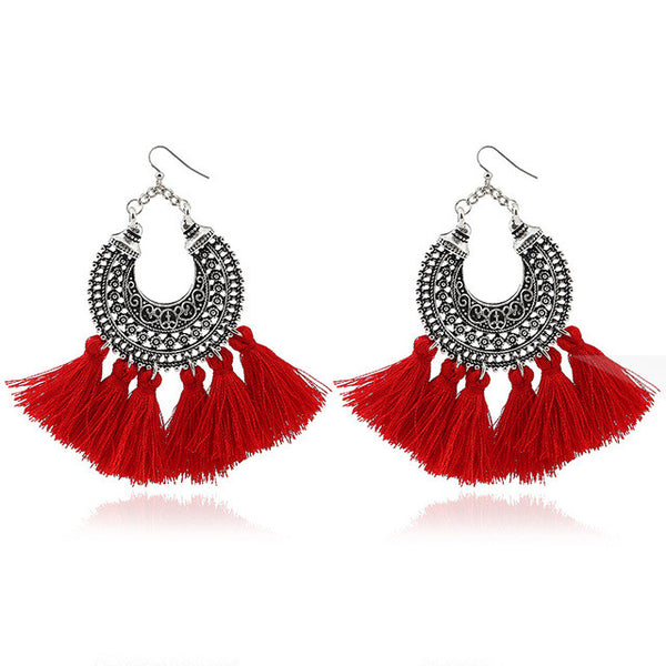 Boho Vintage Tassel Fringe Earrings - Moonlight Gypsy