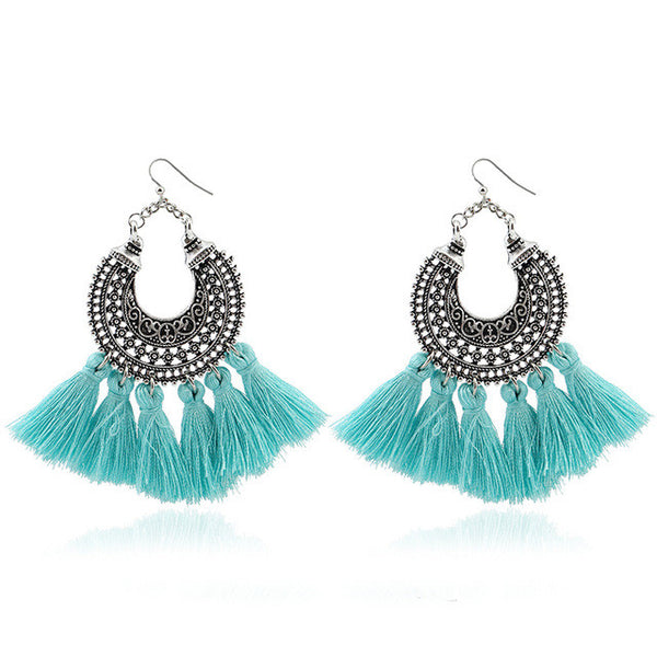 Boho Vintage Tassel Fringe Earrings-earrings-Moonlight Gypsy