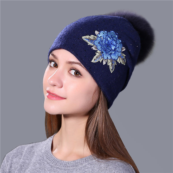 Genuine Fur Pom Pom Embroidered Beanie-hat-Moonlight Gypsy