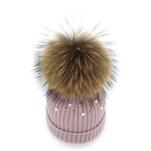 Genuine Fur Pearl & Rhinestone Beanie Hat-hat-Moonlight Gypsy