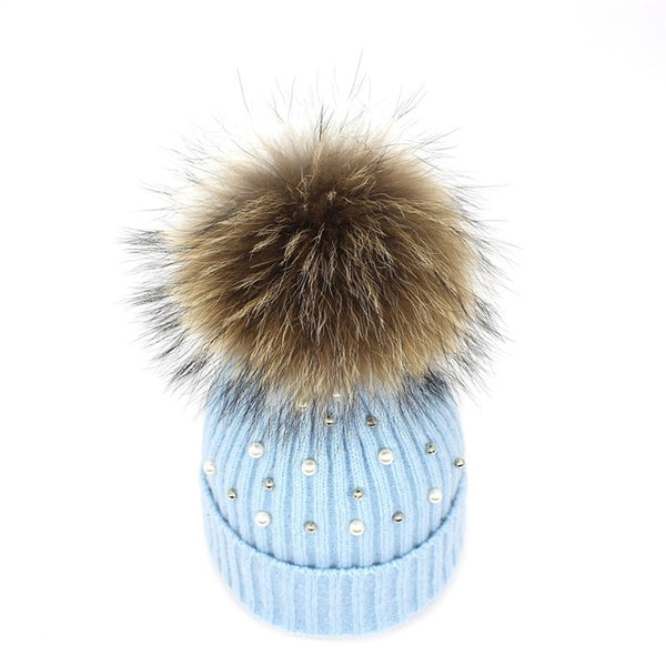 Genuine Fur Pearl & Rhinestone Beanie Hat - Moonlight Gypsy