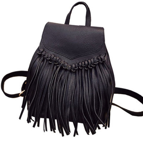 Faux-Leather Fringe Boho Backpack - Moonlight Gypsy