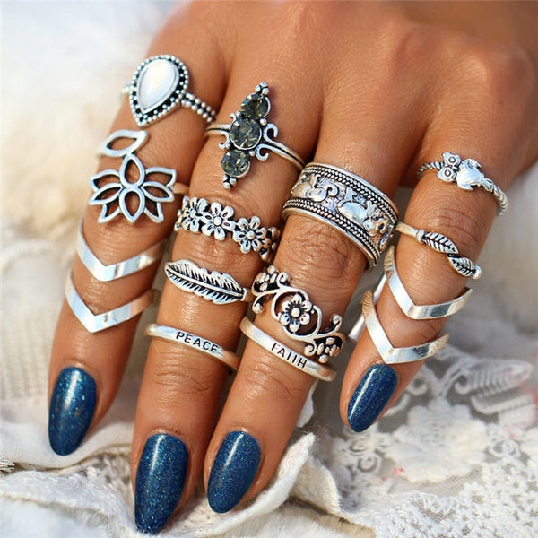 Lotus Flower Bohemian Ring Set-ring set-Moonlight Gypsy