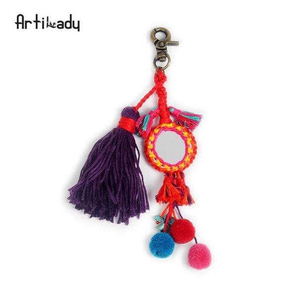 Pom Pom Tassel Beaded Keychain-keychain-Moonlight Gypsy