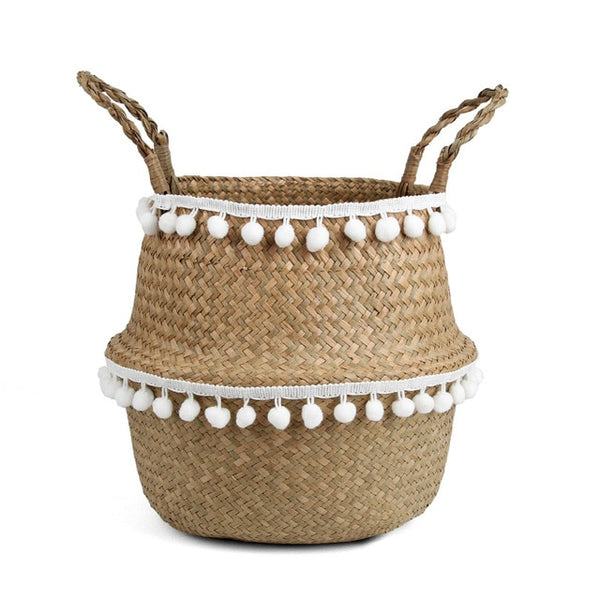 Pom Pom Straw Storage Basket-storage basket-Moonlight Gypsy
