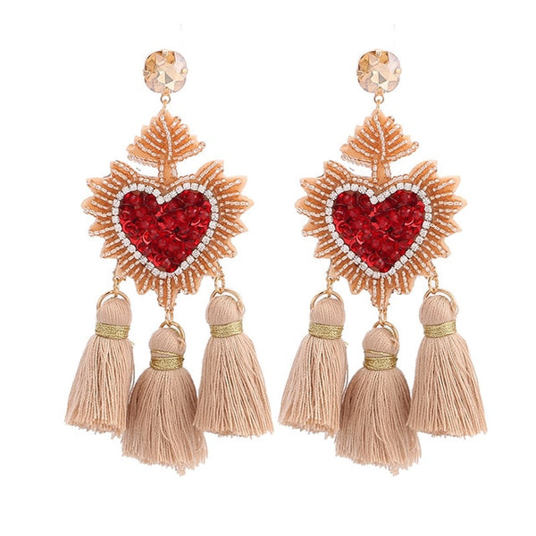 Heart Pendant Tassel Boho Earrings-earrings-Moonlight Gypsy