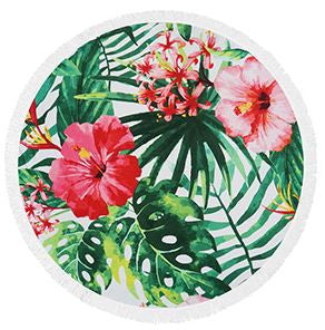 Tropical Print Fringe Beach Towel Roundie-Beach Towel-Moonlight Gypsy