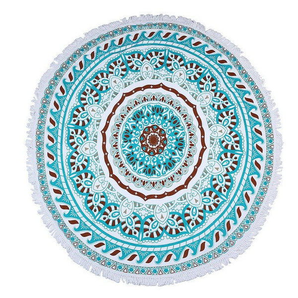 Floral Fringe Beach Towel Roundie-Beach Towel-Moonlight Gypsy