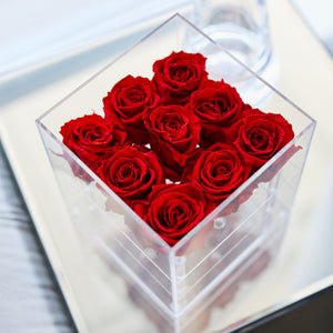 Acrylic Box square for 9 roses