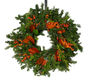 Designer Wreath Ilex orange and Magnolia 24""