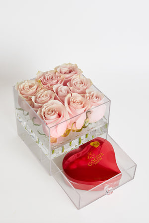 Acrylic box with drawer for 9 preserved roses
