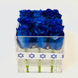 Blue Acrylic Box roses