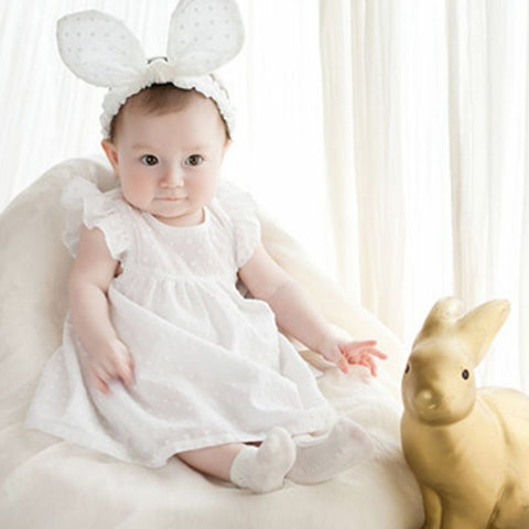 Baby White Fabric Delicate Bunny Ear Headband